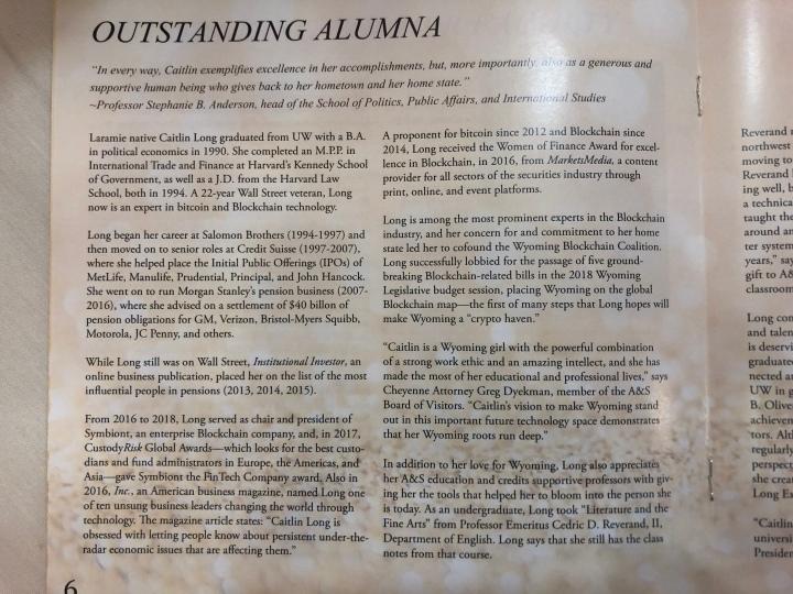 Acceptance Speech for Outstanding Alumnus 2019, UW College
